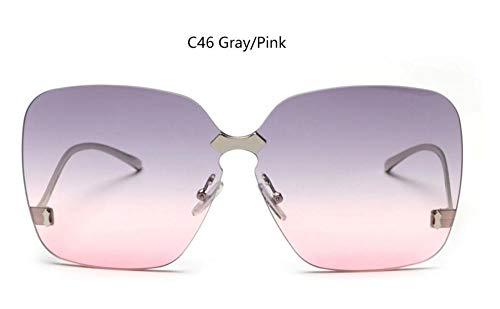 Sonnenbrille Berühmte Frauen Die Große Sonnenbrillen Designer Fashion Schwarz Gläser Übergroße Randlose Sonnenbrille Weiblichen Oculos Grau Rosa