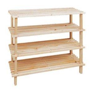 Elegant 4 Tier Wooden Shoe Storage Rack Slatted Stand by primer