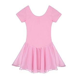 Yoliki Fashion Arshiner Kids Mädchens Round Neck Trikot Dress for Ballet Short Sleeve