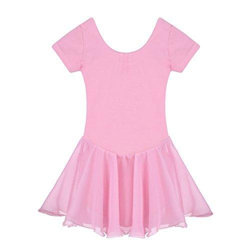 Yoliki Sommer-Kind-Mädchen-Kurzschluss-Hülse O-Ansatz Gymnastikanzug-Ballett-Tanz-Kleid