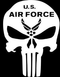 SUPERSTICKI® US Air Force Punisher Skull Aufkleber Decal Hintergrund/Maße in inch Vinyl Sticker|Cars Trucks Vans Walls Laptop| White |5.5 x 4 in|CCI980 (Decal Us-air Die Force)