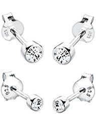Elli Damen-Ohrstecker-Set Basic 925 Sterling Silber mit Kristallen von Swarovski 0906540112