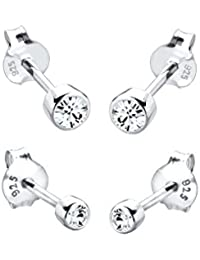 Elli Damen Ohrringe 2er Set Basic Stecker mit Swarovski Kristallen in 925 Sterling Silber