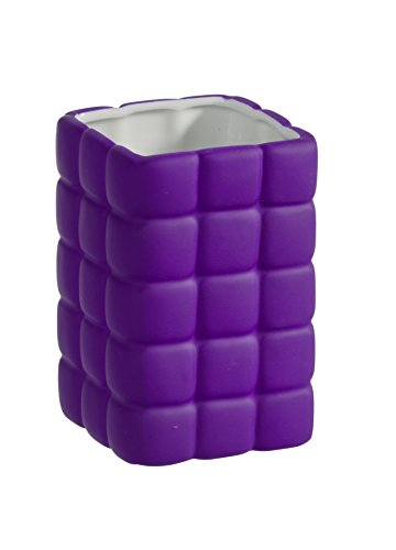 Wenko 20445100 Gobelet à Brosse à Dents Cube Céramique Violet Dimensions 6,5 x 6,5 x 13,1 cm