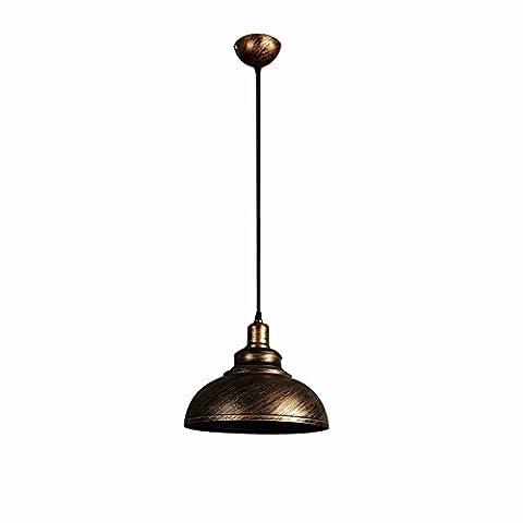 Industrial Retro Pendelleuchte Eisen Lampenschirm und verstellbare Schnur mit 1 Licht, Bronze Finish
