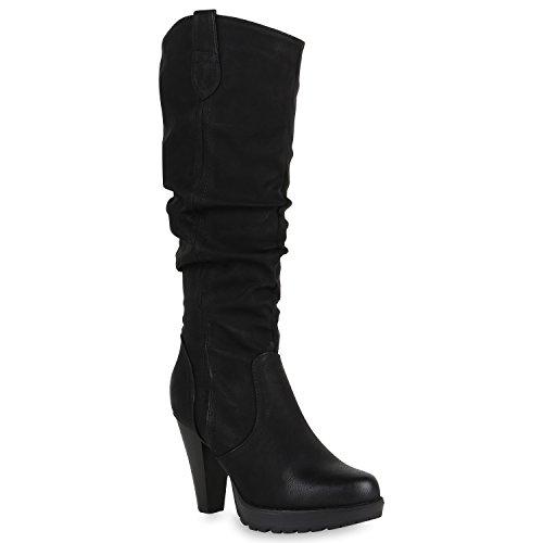 Stiefelparadies Damen Stiefel Leicht Gefütterte Plateaustiefel High Heels Schuhe 150075 Schwarz...