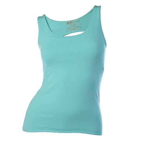 Maria Malo Yoga Top, T-Shirt de Sport Femme Turquoise