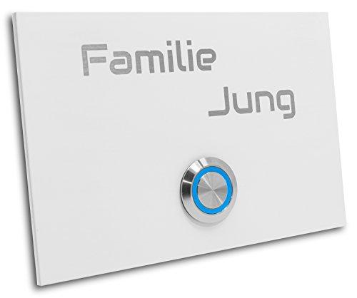 Edelstahl Klingelplatte London 004 Größe 120 X 80 X 3 mm weiß RAL 9016 Pulverbeschichtet Gravur LED Taster (blau) Edelstahlklingel Haustürklingel Klingel Türklingel
