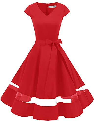 Mädchen Jahre 50er Up Pin Kostüm - Gardenwed 1950er Vintage Retro Rockabilly Kleider Petticoat Faltenrock Cocktail Festliche Kleider Cap Sleeves Abendkleid Hochzeitkleid Red XL