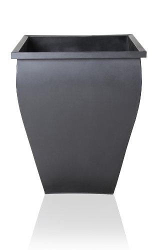 Cache-Pot Évasé Noir Carré Zinc Galvanisé - H : 40cm