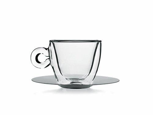 Ic-tee (Luigi Bormioli Thermic Glass Packung Tee- oder Cappuccinotassen mit Borosilikat-Teller, Glas, Transparent, 2 Stück)