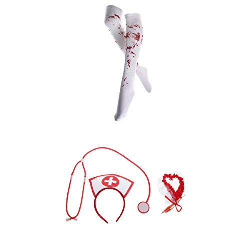 P prettyia calze colorate di halloween festa in maschera+insieme di 3pcs infermiere kit hen night party accessori abito fantasia