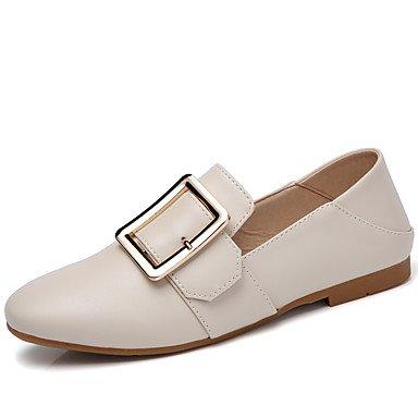Shoeshaoge pour femme Chaussures PU dété Fall Moccasin Confort appartements pour décontracté Beige Noir Blanc beige