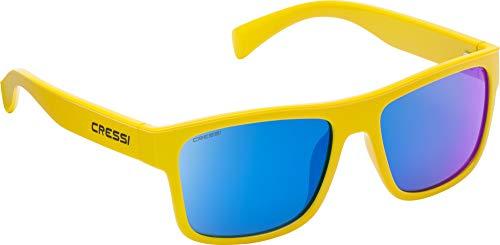 Cressi Unisex- Erwachsene Spike Sunglasses Sport Sonnenbrillen, Gelb/Verspiegelte Linsen Blau, One Size