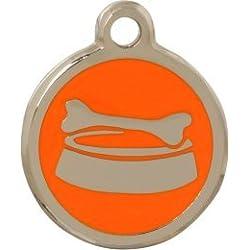 Personnalisé Médaille pour Animal domestique en forme de Bol à Os Orange (Petit)   SERVICE DE GRAVURE   Médaille pour Chien et Chat Personnalisée avec Design Coloré