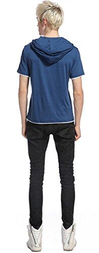 Whatlees Herren Urban Basic reguläre Passform lang arm Langes T-shirt mit Kapuzer aus weiches Jersey B495-Blue