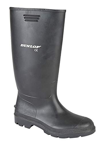 Mens Dunlop Black Wellies Wellington Welly Rain Boots, 10 UK, Black