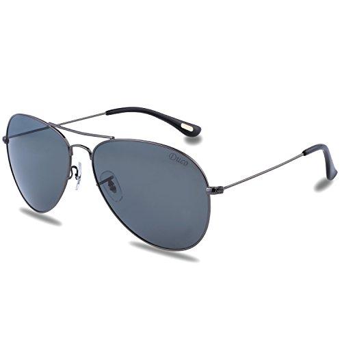 Duco men's aviator stile classico polarizzato occhiali da sole 3025 (canna di fucile lente grigia telaio)