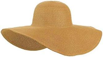 TOOGOO(R)Mujeres Lindas Verano Paja sombrero de la playa Borde Grande Ancho Foldable Sombrero de sol Caqui