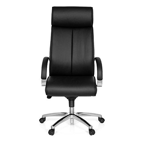 hjh OFFICE 724580 Bürostuhl Chefsessel Santana Kunstleder-Bezug, Schwarz, ergonomischer Schreibtisch-Stuhl mit Armlehnen in Chrom und Kopfstütze, Drehstuhl, Sessel, gepolstert