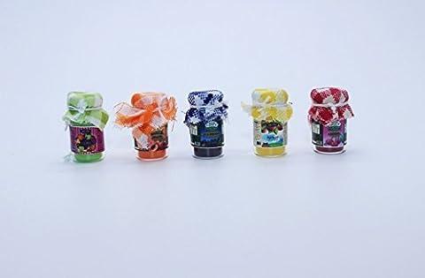 5 pot en verre de confiture de fruits ensemble Dollhouse miniature épiceries artisanales