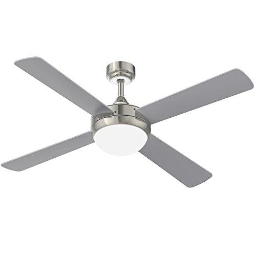 Deckenventilator mit Licht und Fernbedienung, YUNLIGHTS 52 Zoll Ventilator Lampe mit 4 Klingen, 6 Geschwindigkeiten, Reversible Rotation