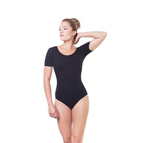Gymnastikanzug Damen Ballettanzug Kurzarm Bodies Ballett Trikot Turnanzug Bodysuit / Made in EU, Farbe: Schwarz, Größe: 36
