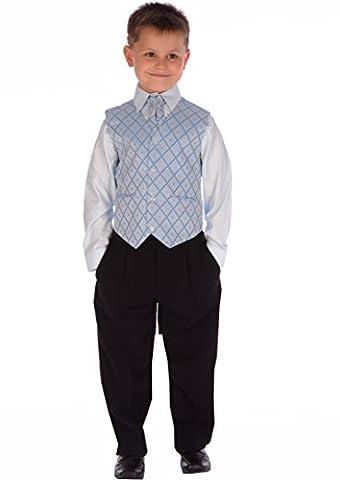 4PC-Knaben und Babys Blau und schwarzen Anzug zwischen 0-3 Monaten bis zu 14-15 Jahren 8 Jahre (Acht Knoten-knopf)