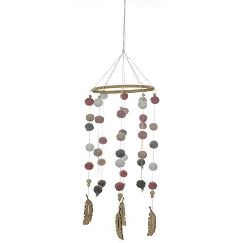 Warooma Windspiel aus Holz, für Kinderzimmer, Kinderzimmer, Bettglocke, Babyzimmer, Decke, Plüsch-Perlen, hängendes Ornament für Fotografie, Requisiten, Babygeschenk (Mobile Baby-krippe-mädchen)