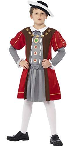 Viii Kinder Henry Kostüm - Jungen historische Verkleidung König Henry VIII Tudor Monarch für Buchtag - Bunt, 10-12 Jahre