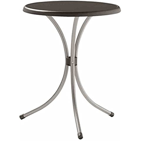 Sieger 200/A - Mesa plegable, armazón de acero y tablero de resina mecalit-pro imitación pizarra (diámetro: 60 cm, altura: 72 cm), color antracita
