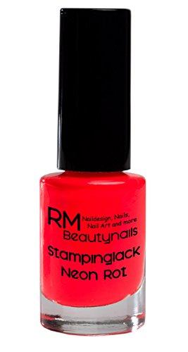 Stampinglack Neon Rot 5ml Stamping Lack Nagellack Nail Polish RM Beautynails - Konad Set Platten