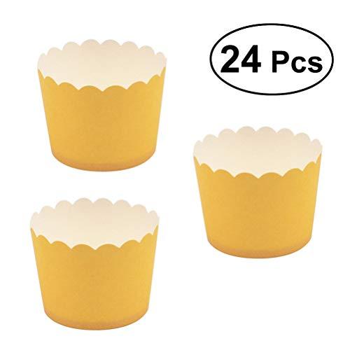 bestonzon 24Cupcake-Backförmchen Muffin Wrapper-Liners Kuchen Fällen Form (gelb)