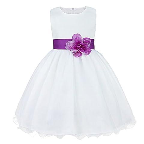 iiniim Mädchen Kleid Festliche Prinzessin Kleider Blumenmädchenkleider Weißes Taufkleid Hochzeitskleid Partykleid Festzug Gr.92-164 Lila 116 / 6 Jahre