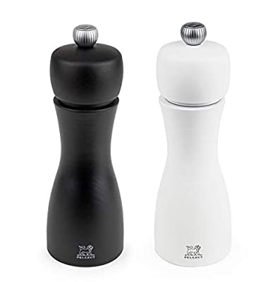 Peugeot Tahiti Duo Noir Pepper and Blanc Salt Mill Set, 15cm by Chomette
