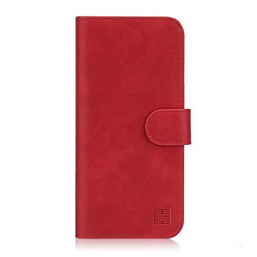 32nd Essential Series - PU Leder Mappen Hülle Flip Case Cover für Nokia 5.1 Plus (2018), Ledertasche hüllen mit Standfunktion, Magnetverschluss und Kartensteckplatz – Rot