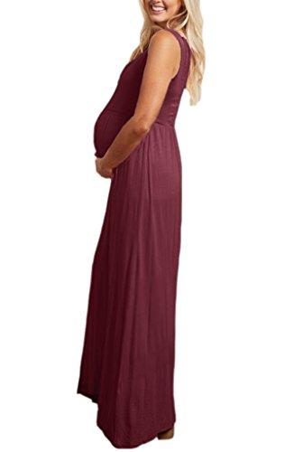 Liu & Qu - Robe spécial grossesse - Taille empire - Sans Manche - Femme Bordeaux