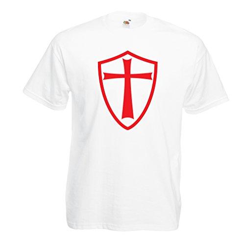 Männer T-Shirt Ritter Templer - Die Templer Schild Christian Ritter Ordnung (XX-Large Weiß Rote)
