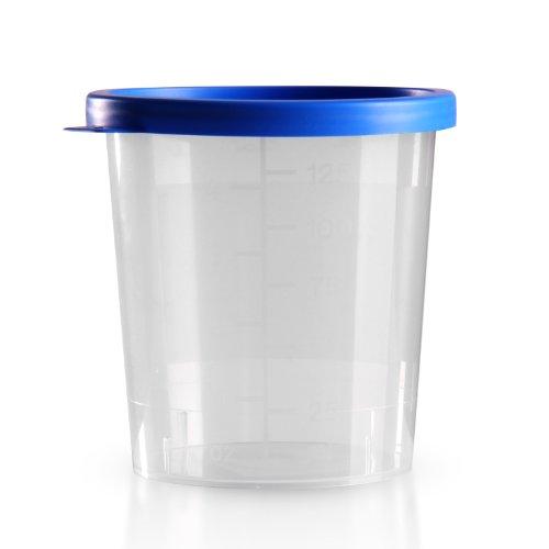 25 x Urinbecher 125 ml / Farbe: Natur / Schnappdeckel: Blau / mit Graduierung / hygienisch verpackt / mit Beschriftungsfeld auf Becher und Deckel / Urinprobenbecher / Urinprobebecher / Probebecher / Probenbecher