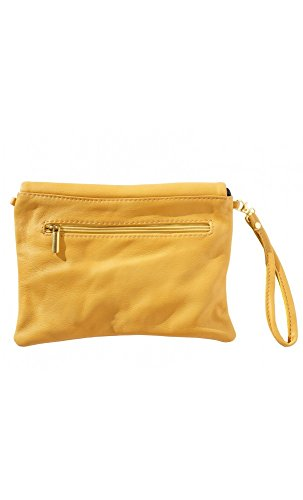 Morbida pelle bovina da donna frizione borsa Yellow