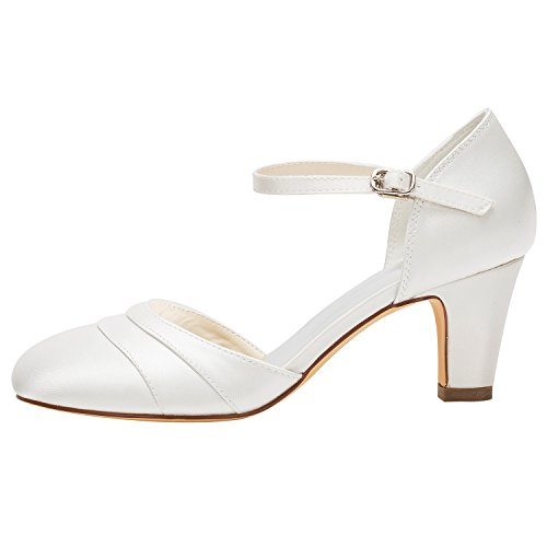 Emily Bridal Wedding Shoes Women's Silk Like Satin Stiletto Heel Closed Toe Pumps (EU36/UK3.5, Ivory)