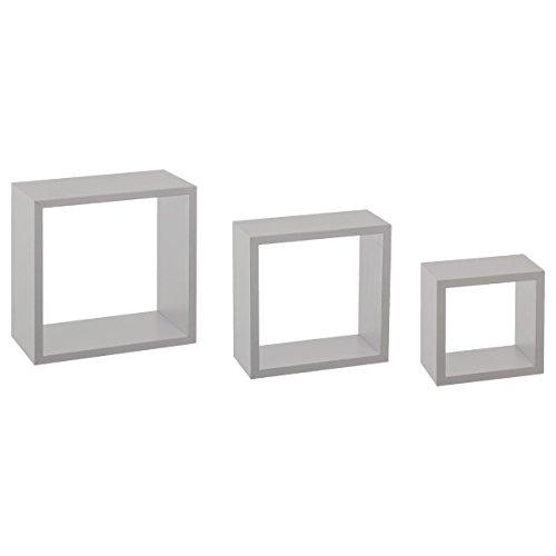 Kit de 3 étagères murales Cube Gris