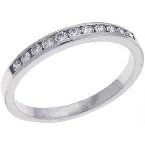 14kt oro bianco channel-set rotondo 0,23ct Diamante
