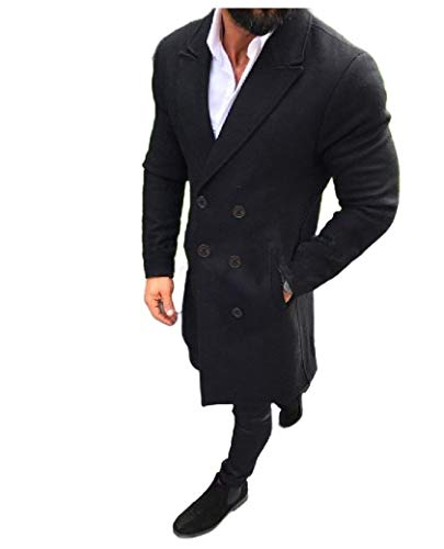 CuteRose Men's Slim Double-Breasted Woolen Fall Winter Trench Overcoat Black XL Black Double-breasted Peacoat