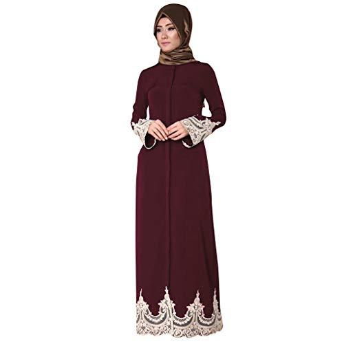 Lazzboy Türkische Volle Schnalle Muslimische Spitze Muslimisches Kleid Strickjacke Damen Mantel Frauen Getrimmt Abaya Muslim Maxi Kaftan Kimono Freizeit Tanzparty Festival Kleidung(Rot,L)