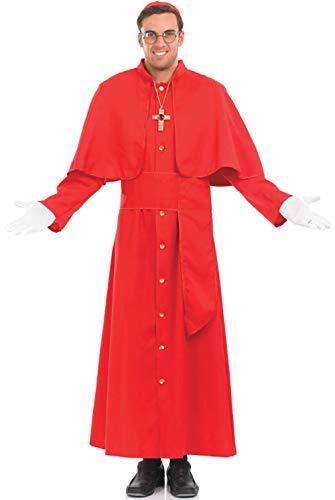 Herren 5 Teile Religiös Rot Katholische Kardinal Priester Kostüm Kleid Outfit M-XL - Rot, Medium