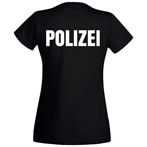 Officer Brust (Shirt-Panda Damen Polizei T-Shirt - Druck Brust & Rücken Reflex Schwarz (Druck Weiß) XL)