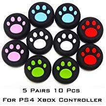 Silikon-Daumengriffe, Katzenpfotenabdrücke, 5 Farben, 10er-Pack, Joystick-Griff-Kappe, kompatibel mit PS4, Xbox One, Switch Pro Controller