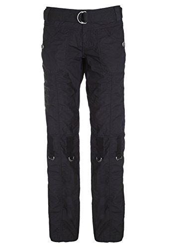 SUBLEVEL Damen Cargohose in schwarz und weiß | Leichte Frauen Trekkinghose kurz/lang verstellbar black L