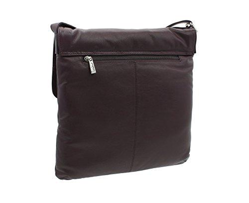 Mala Leder ABERTWEED Kollektion Leder & Tweed Crossbody-Tasche Schultertasche 730_40 Brauner Fleck Pflaumenfleck